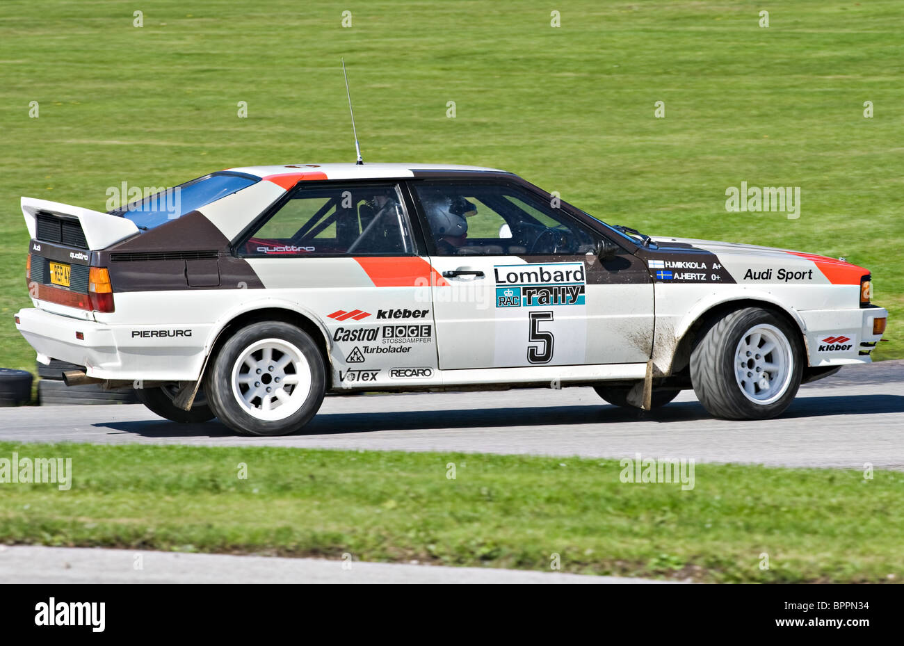 audi quattro group b rally car on the rallying track at. Black Bedroom Furniture Sets. Home Design Ideas
