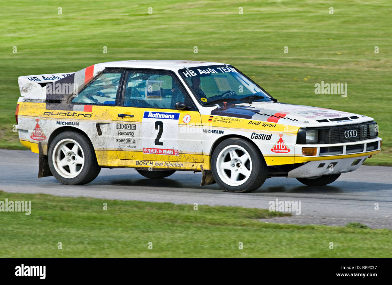 audi quattro group b historic rally car on track at oulton park motor stock photo royalty free. Black Bedroom Furniture Sets. Home Design Ideas