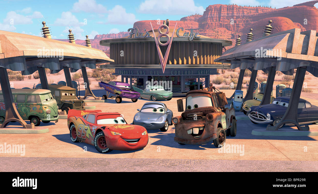 Fillmore sarge lightning mcqueen ramone flo sally carrera mater the tow truck guido luigi doc hudson cars 2006