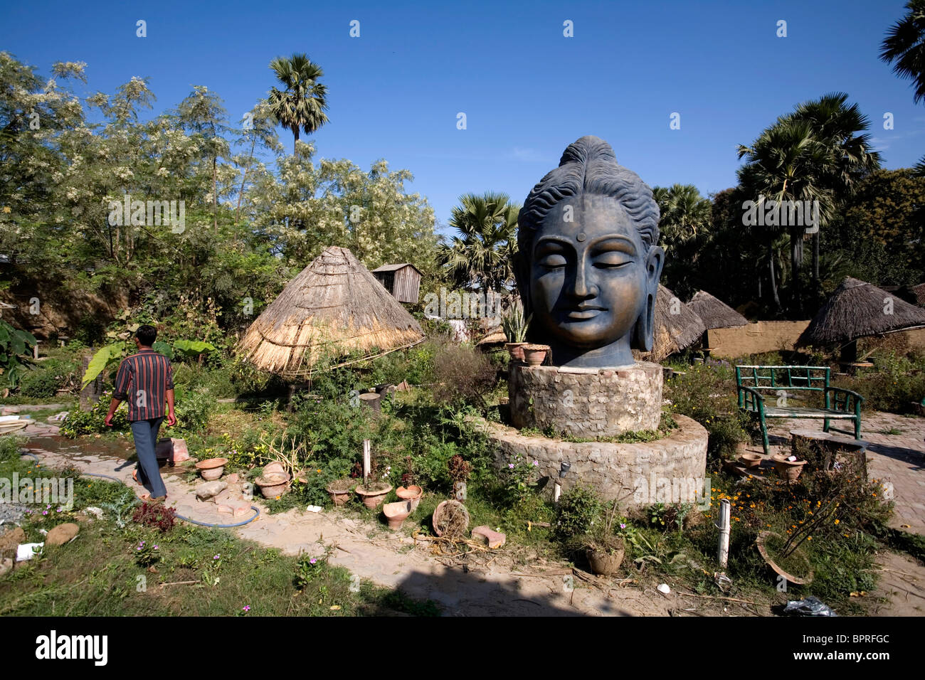 Buddha Head Statue In A Private Garden Bodhgaya Bihar India With Buddha Head .
