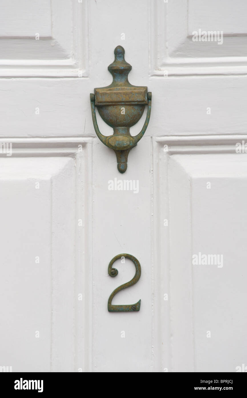 Number 2 Wooden White Painted Paneled Front Door With
