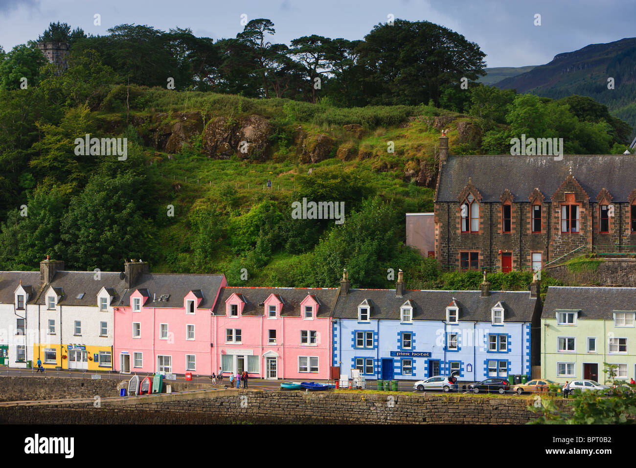 colourful houses in the harbour of portree on the isle of skye stock photo royalty free image. Black Bedroom Furniture Sets. Home Design Ideas