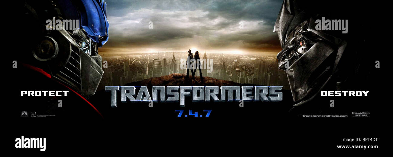 Movie Posters 2007: MOVIE POSTER TRANSFORMERS (2007 Stock Photo, Royalty Free