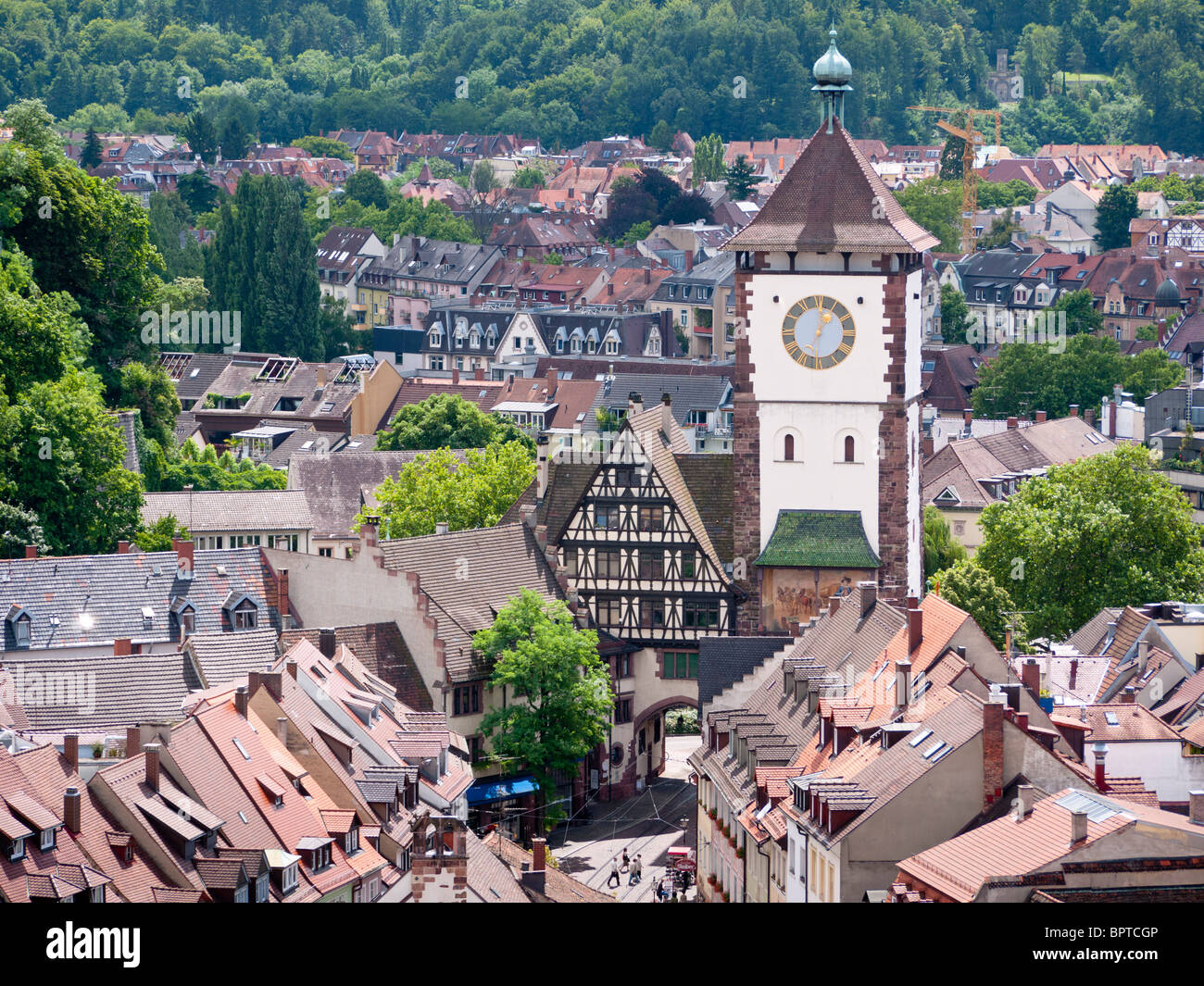 the schwabentor historic town gate in the old town of freiburg im stock photo royalty free. Black Bedroom Furniture Sets. Home Design Ideas