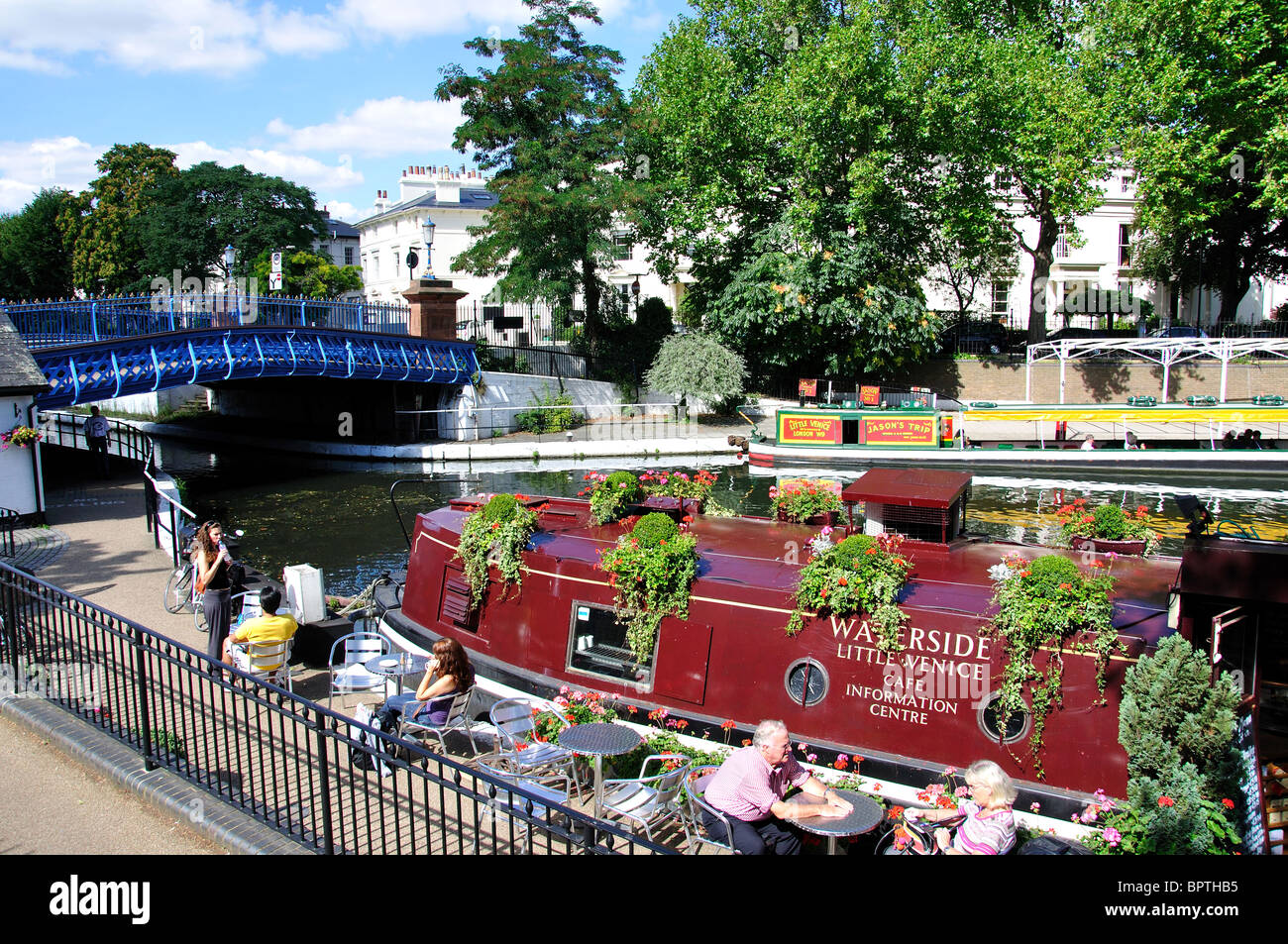 waterside cafe little venice maida vale city of westminster stock photo royalty free image. Black Bedroom Furniture Sets. Home Design Ideas