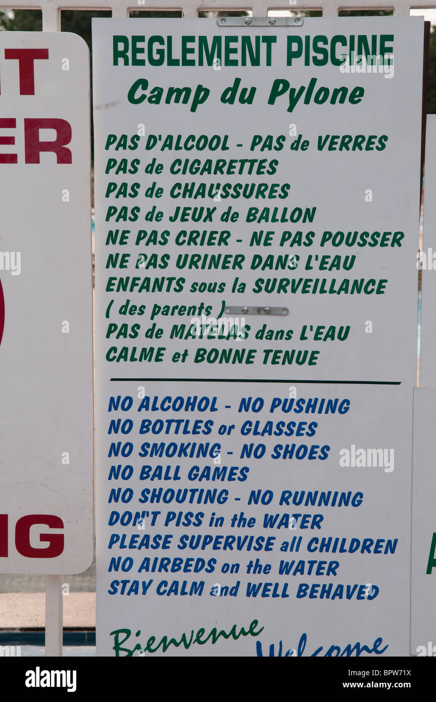 Bilingual Sign In French And English Showing Rules Of An Outdoor Stock Photo 31287142 Alamy