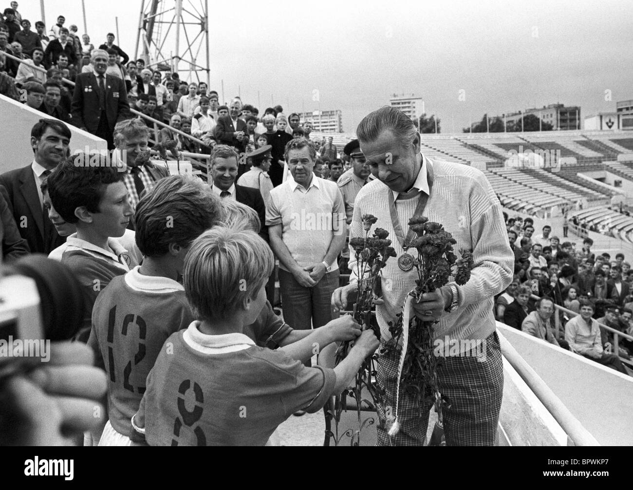Lev Yashin is awarded FIFA Order of Merit 1988 Stock