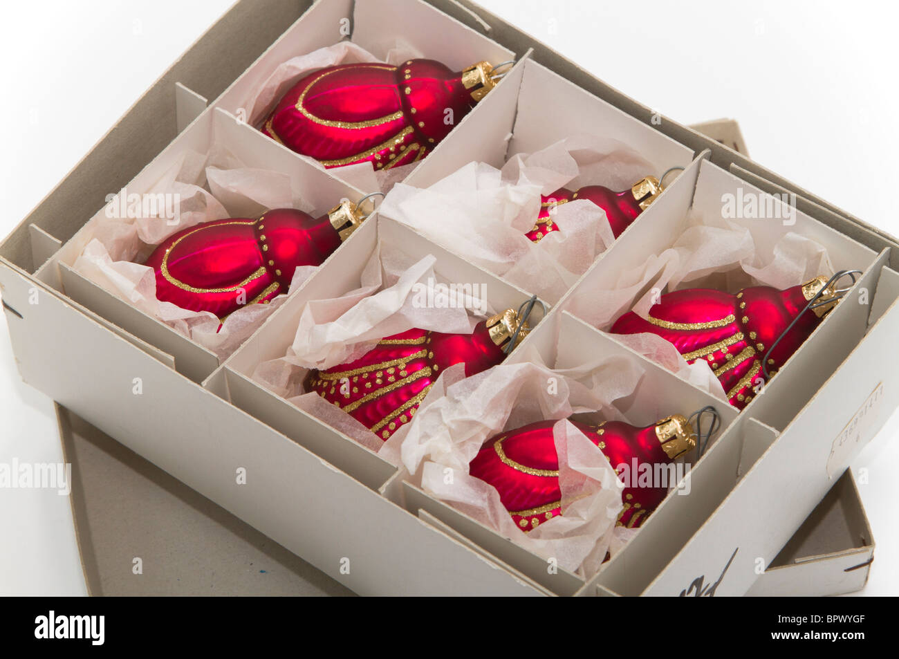 Red glass christmas ornaments - Open Box Of Beautiful Hand Made Red Glass Christmas Ornaments