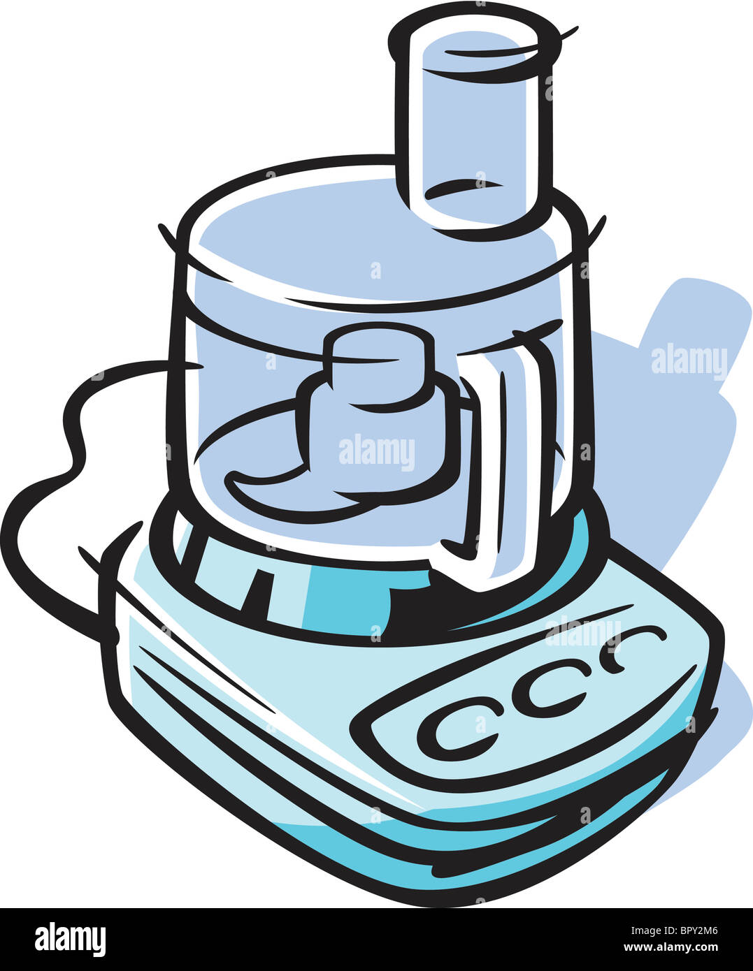Cartoon Food Processor ~ Drawing of a food processor stock photo royalty free