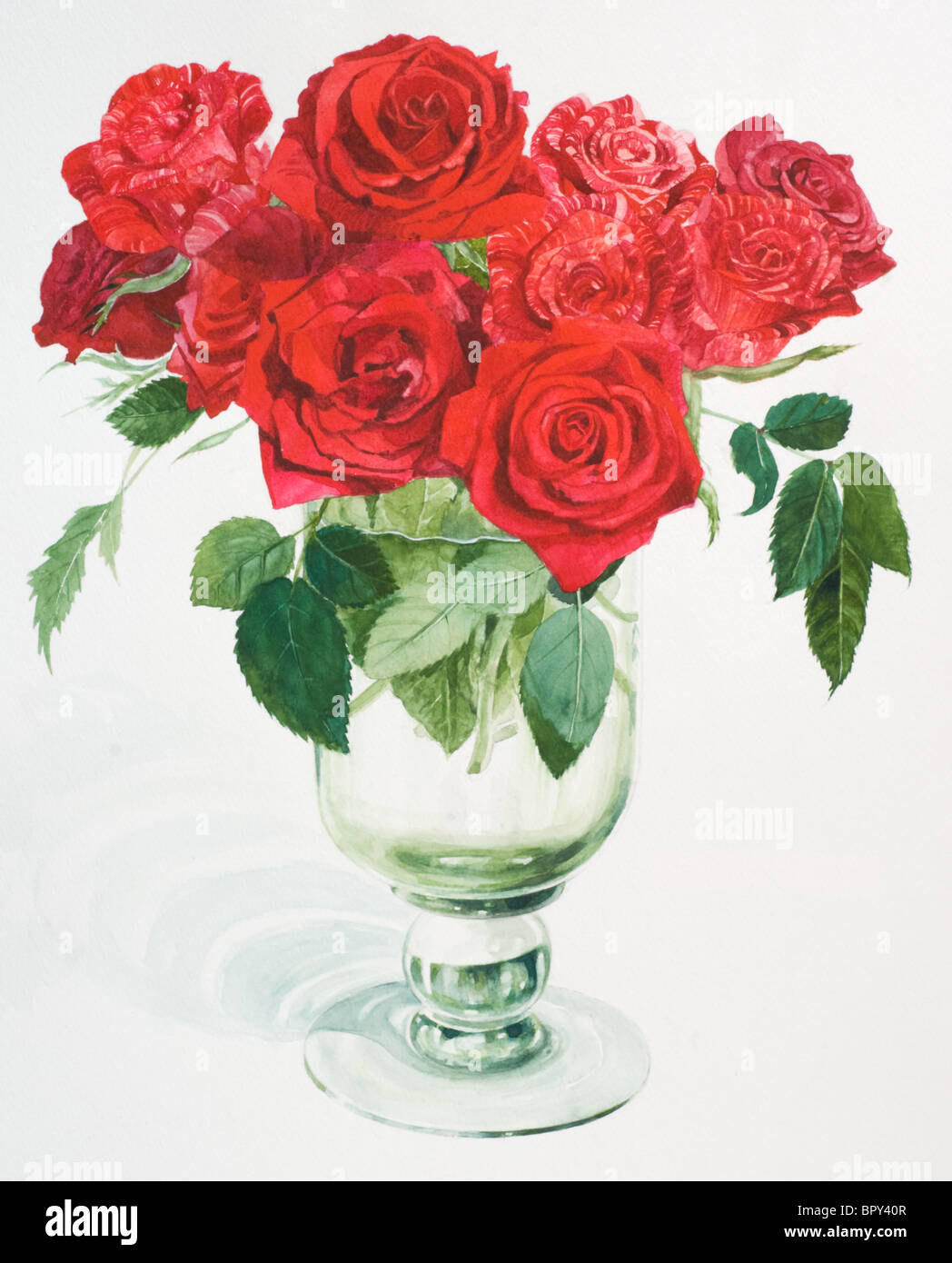A watercolor painting of red roses in a vase stock photo royalty a watercolor painting of red roses in a vase floridaeventfo Choice Image