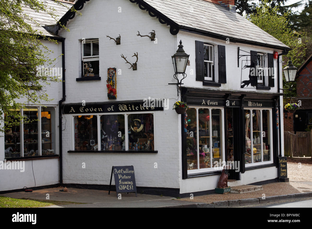 Coven witches shop in burley stock photos coven witches shop in a coven of witches curiosity shop in burley new forest hampshire stock image biocorpaavc Images