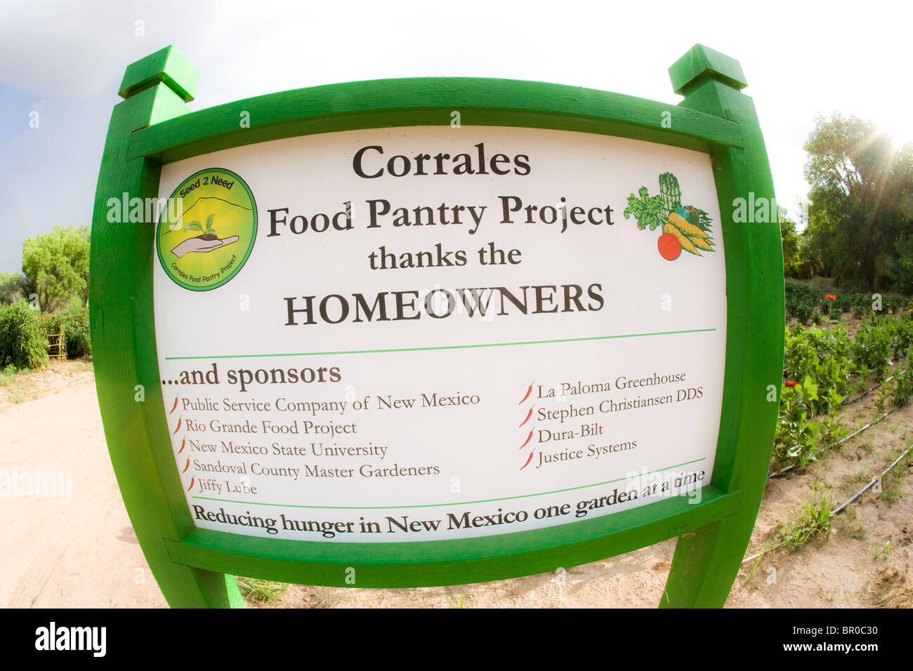 sign in front of Corrales farm food pantry project donation to ...