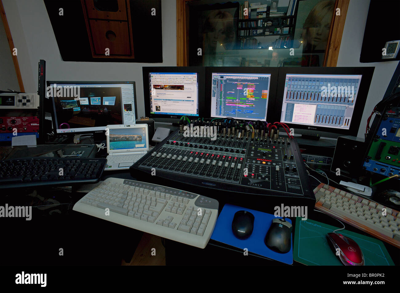 modern recording studio control room with digital mixer computer stock photo royalty free image. Black Bedroom Furniture Sets. Home Design Ideas