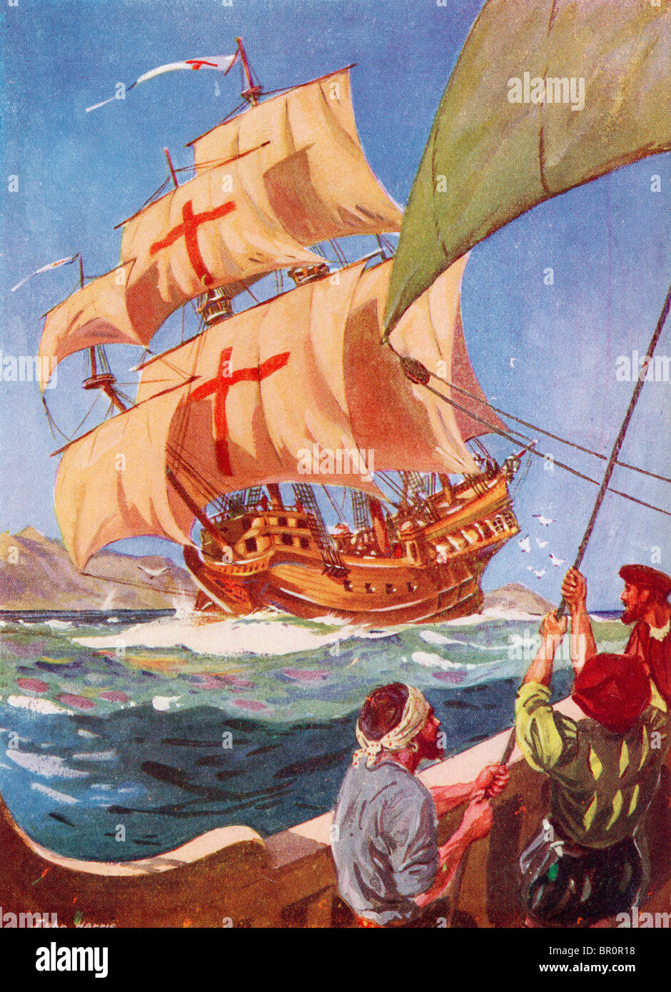 christopher columbus leaves the coast of spain in his flag ship
