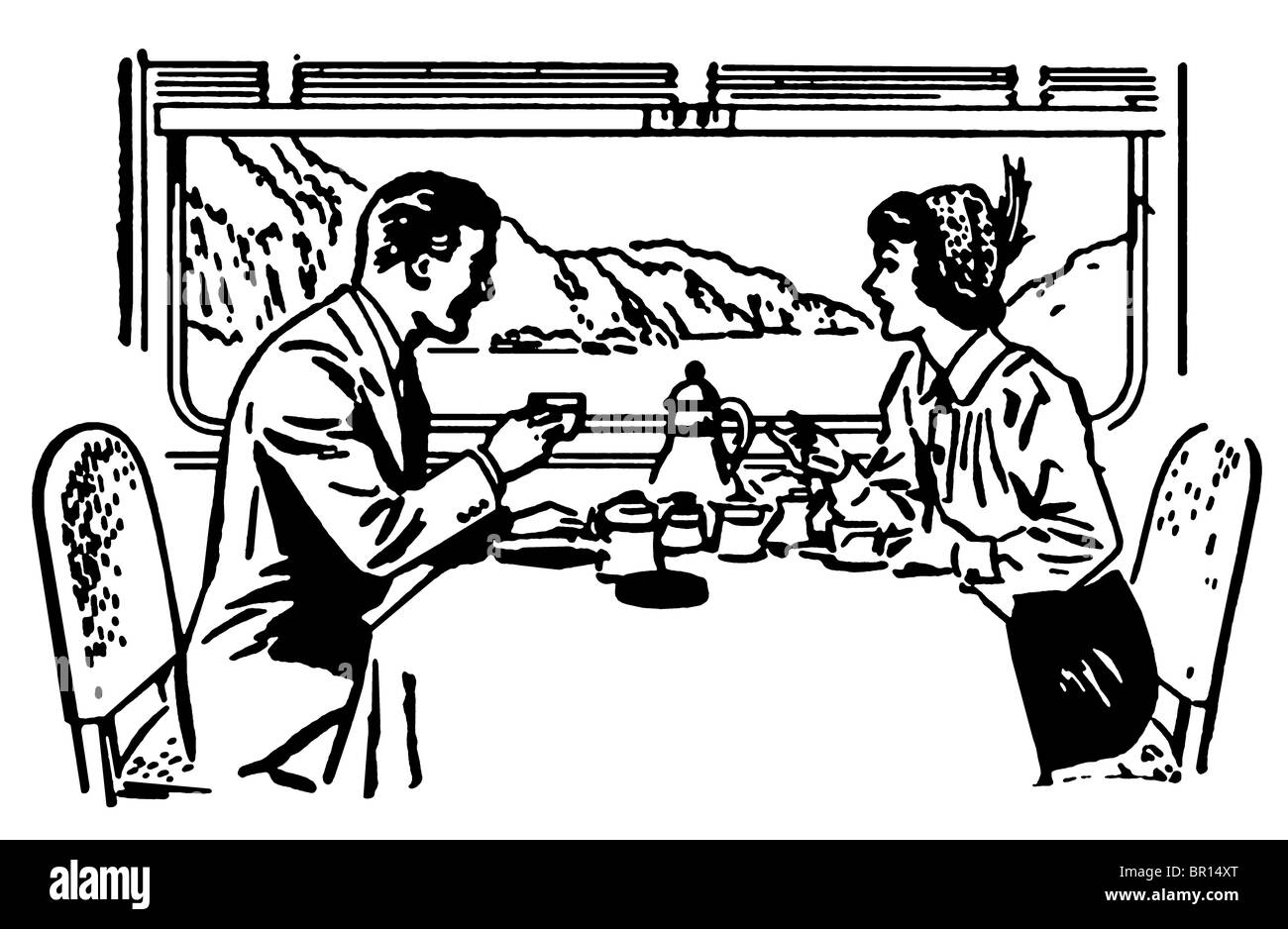 a black and white version of a vintage illustration of a couple