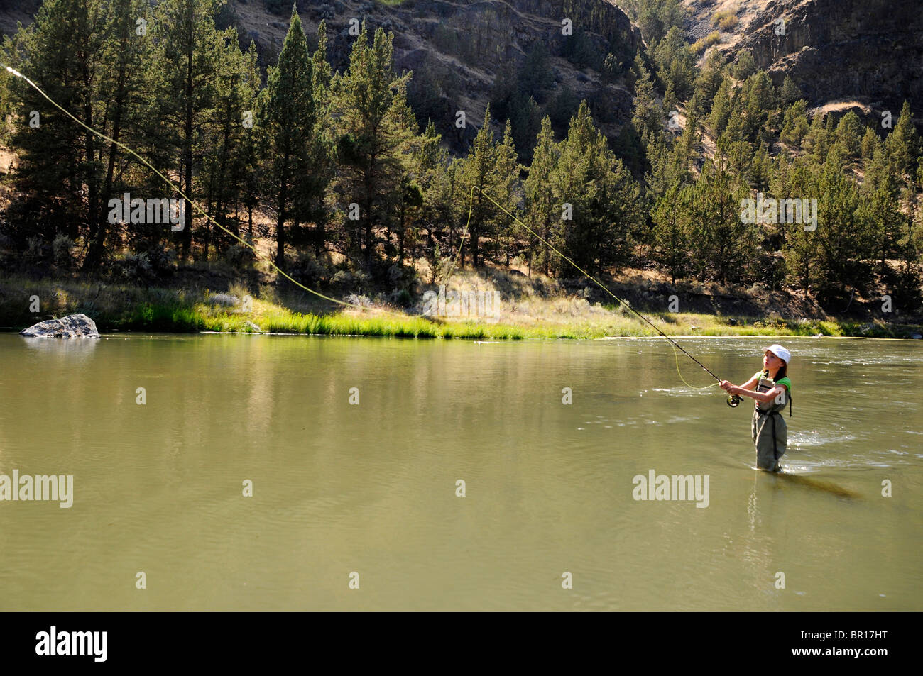 11 year old girl fly fishing in river near bend oregon for Oregon free fishing