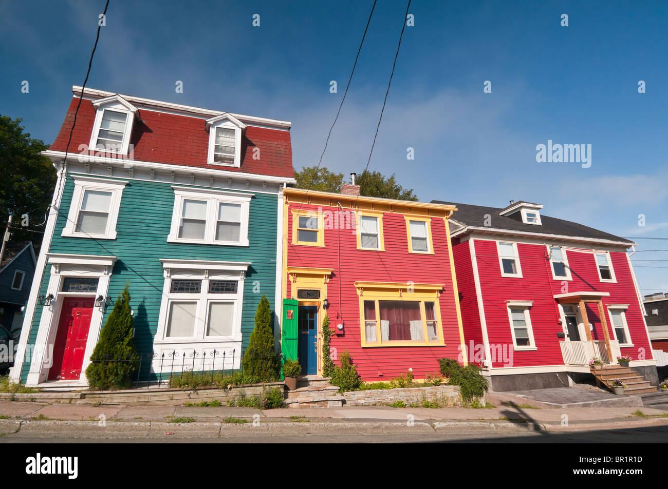 Colorful jelly bean row houses wood street st john 39 s for Newfoundland houses