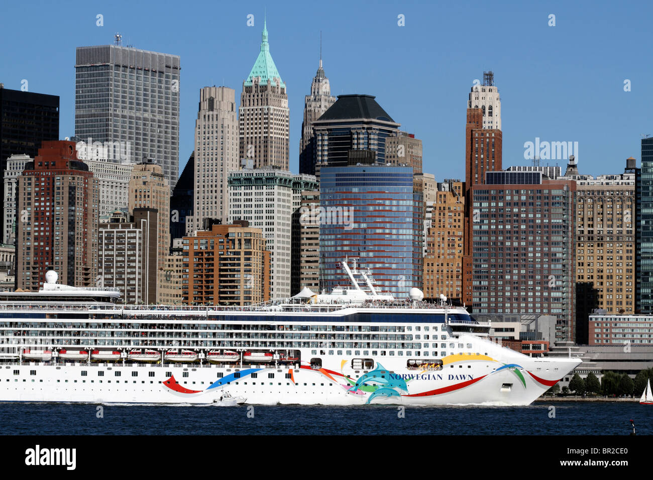 A Cruise Ship On The Hudson River Passing Lower Manhattan And - What cruise ships leave from nyc