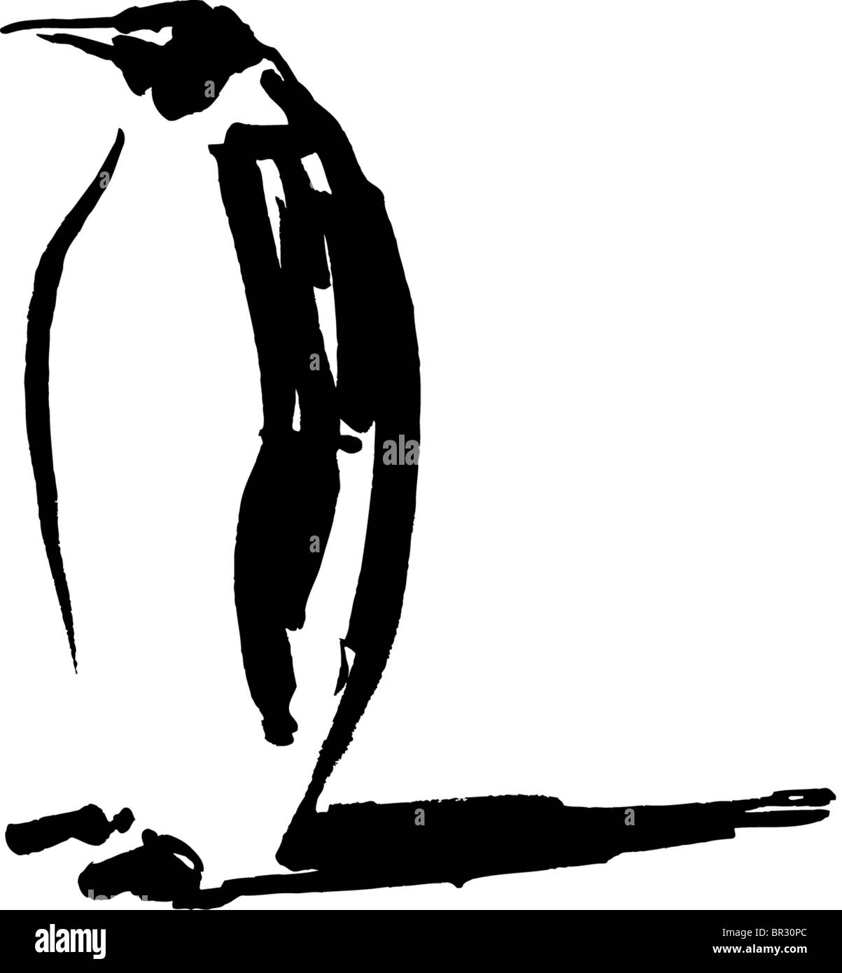 a black and white drawing of a penguin stock photo royalty free
