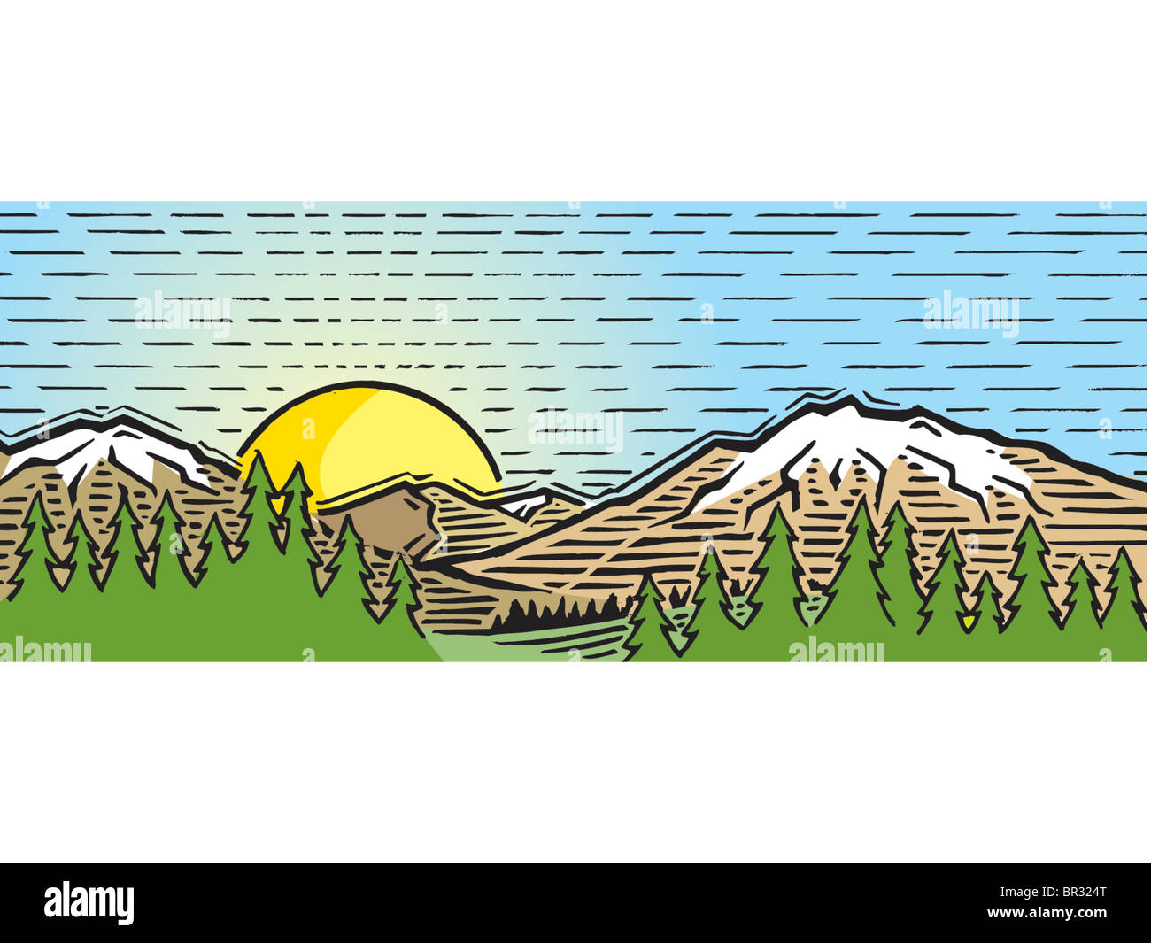 Line Drawing Setting Sun : A drawing of the sun setting amidst mountains stock