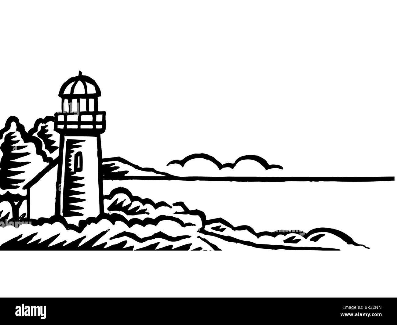 a sketch of a lighthouse in black and white stock photo royalty