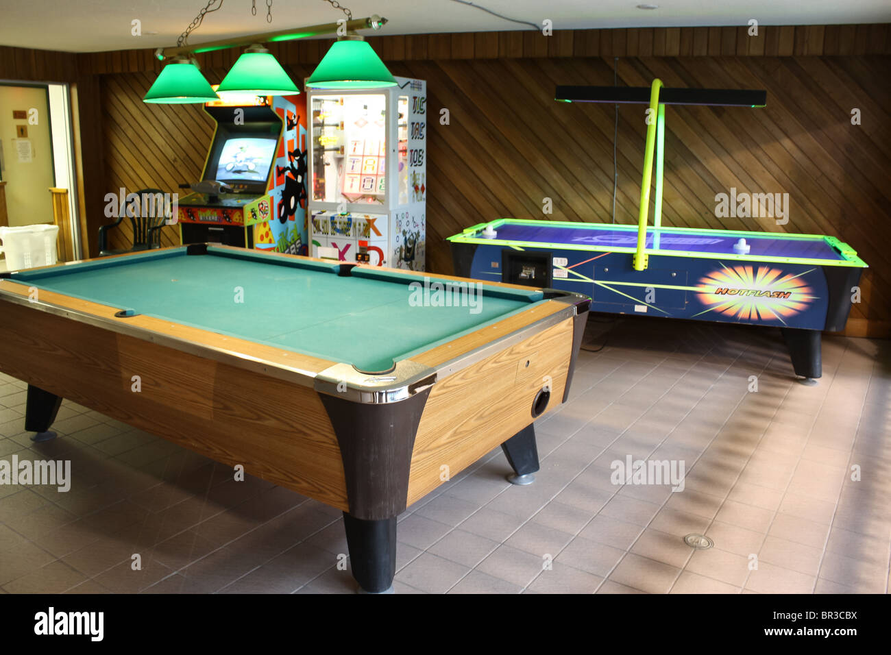 stock photo game room billiard air hockey table arcade game