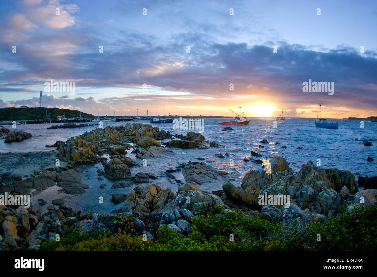 King Island Australia  city pictures gallery : Sunset Over Fishing Boats, King Island, Australia Stock Photo, Royalty ...