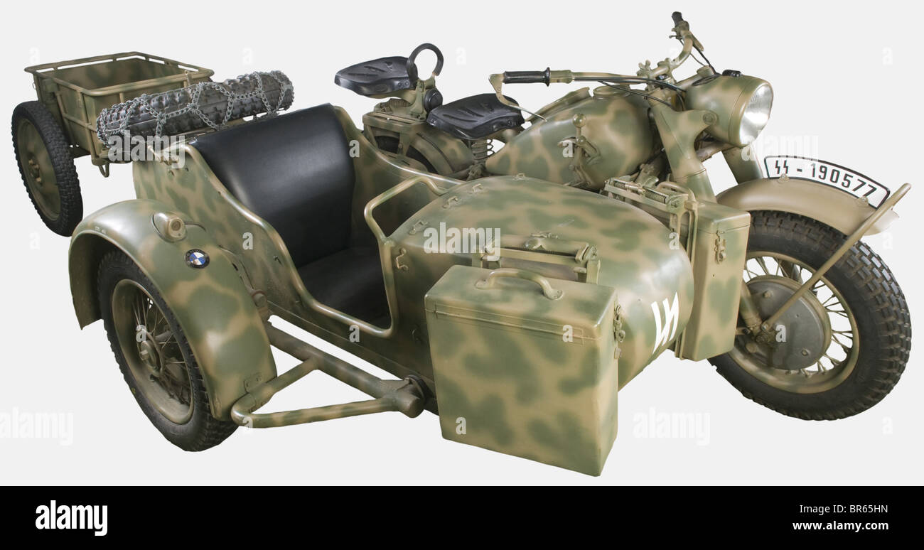 a bmw r75 with sidecar and ammunition trailer issued in 1940 the stock photo royalty free. Black Bedroom Furniture Sets. Home Design Ideas