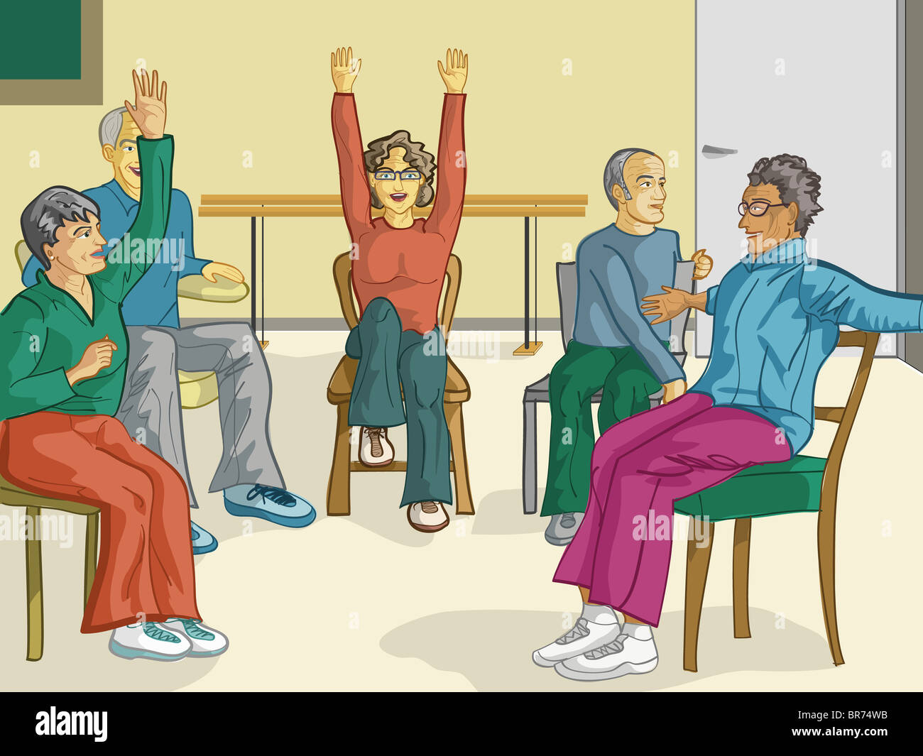 Chair exercises for seniors - A Group Of Senior Citizens Doing Fitness Exercises In Their Chairs
