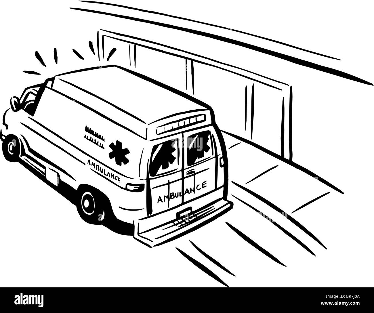 black and white drawing of an emergency ambulance stock
