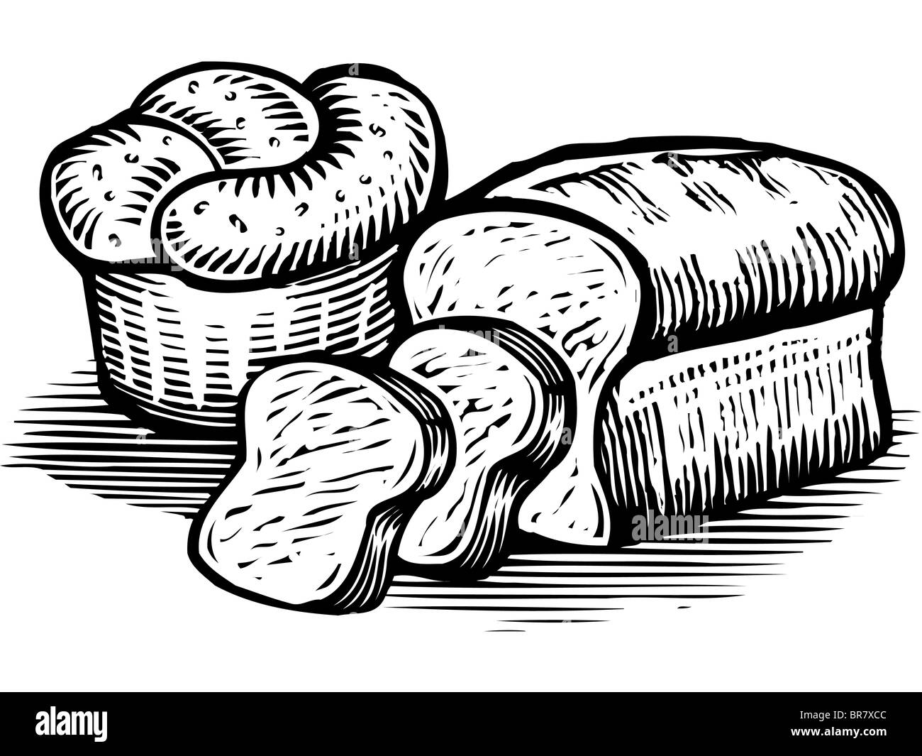 Uncategorized Loaf Of Bread Drawing a drawing of loaves bread illustrated in black and white stock white