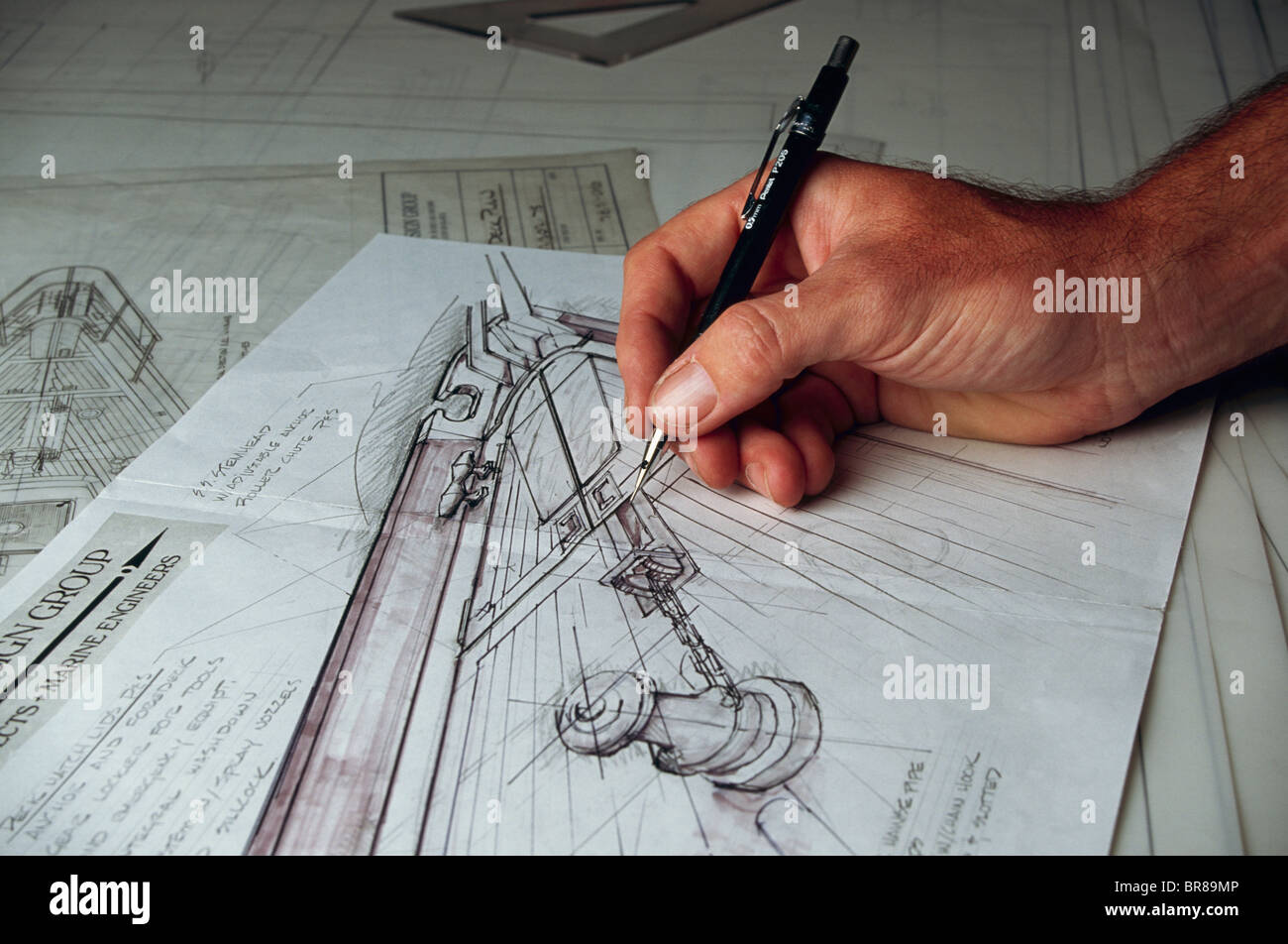 Art Line Yacht Design : Yacht design pencil sketches on the drawing table stock