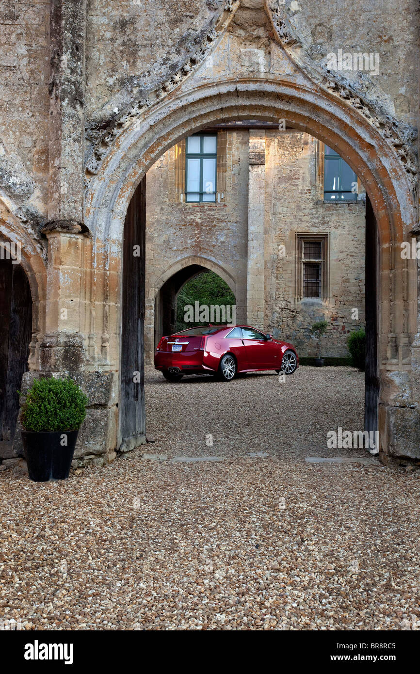 cadillac cts v coupe at chateau de la houblonniere normandy france stock photo royalty free. Black Bedroom Furniture Sets. Home Design Ideas