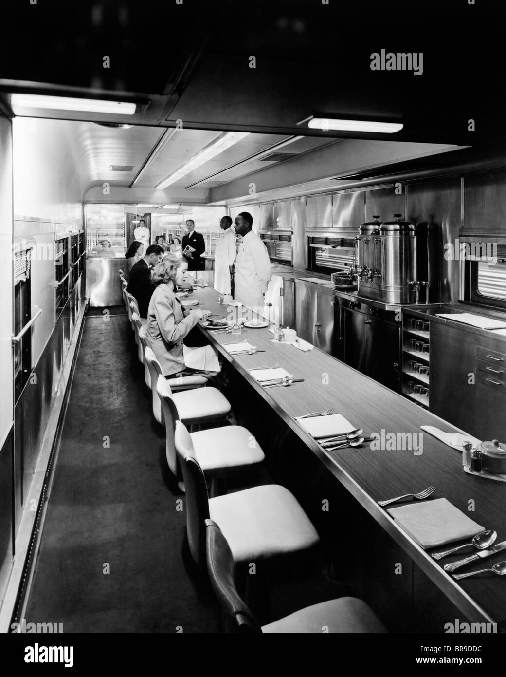 1930s 1940s 1950s patrons and staff inside dining car on passenger stock photo royalty free. Black Bedroom Furniture Sets. Home Design Ideas