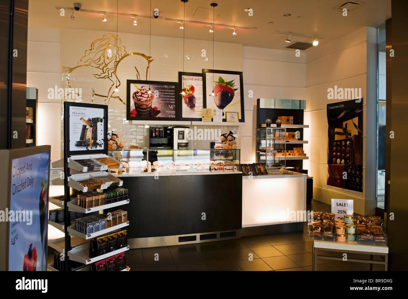 Godiva Chocolate parlor / retail store in Ronald Regan Washington ...