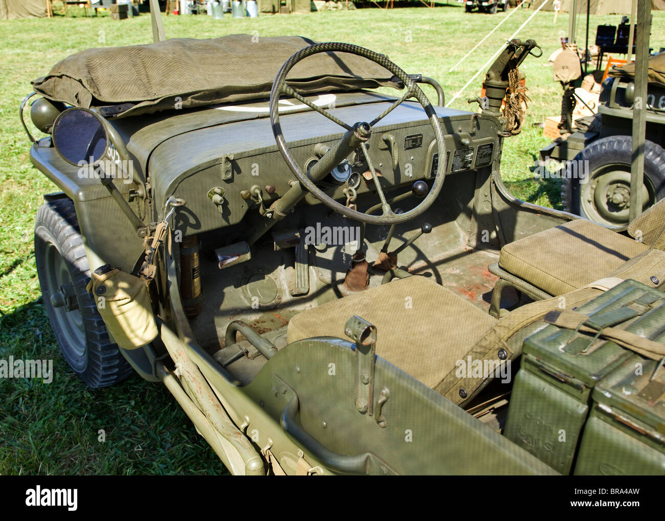 Interior view of wwii era willys us army jeep stock image