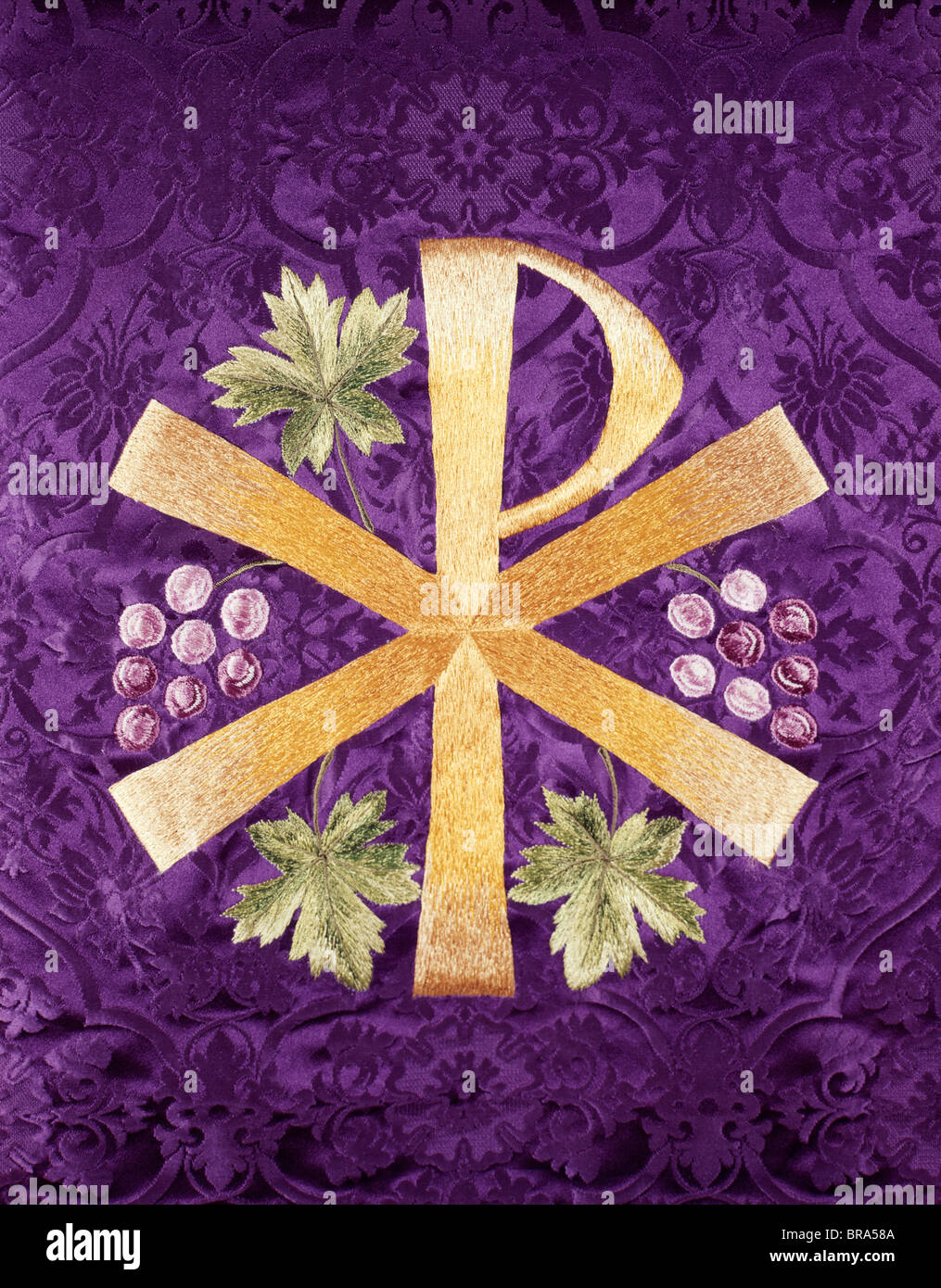 constantines cross chi rho embroidered in gold on purple cloth