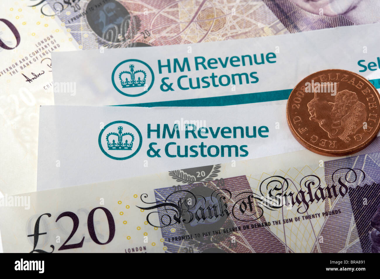 Hmrc Tax Return Letters With Logos And Cash Stock Photo Royalty