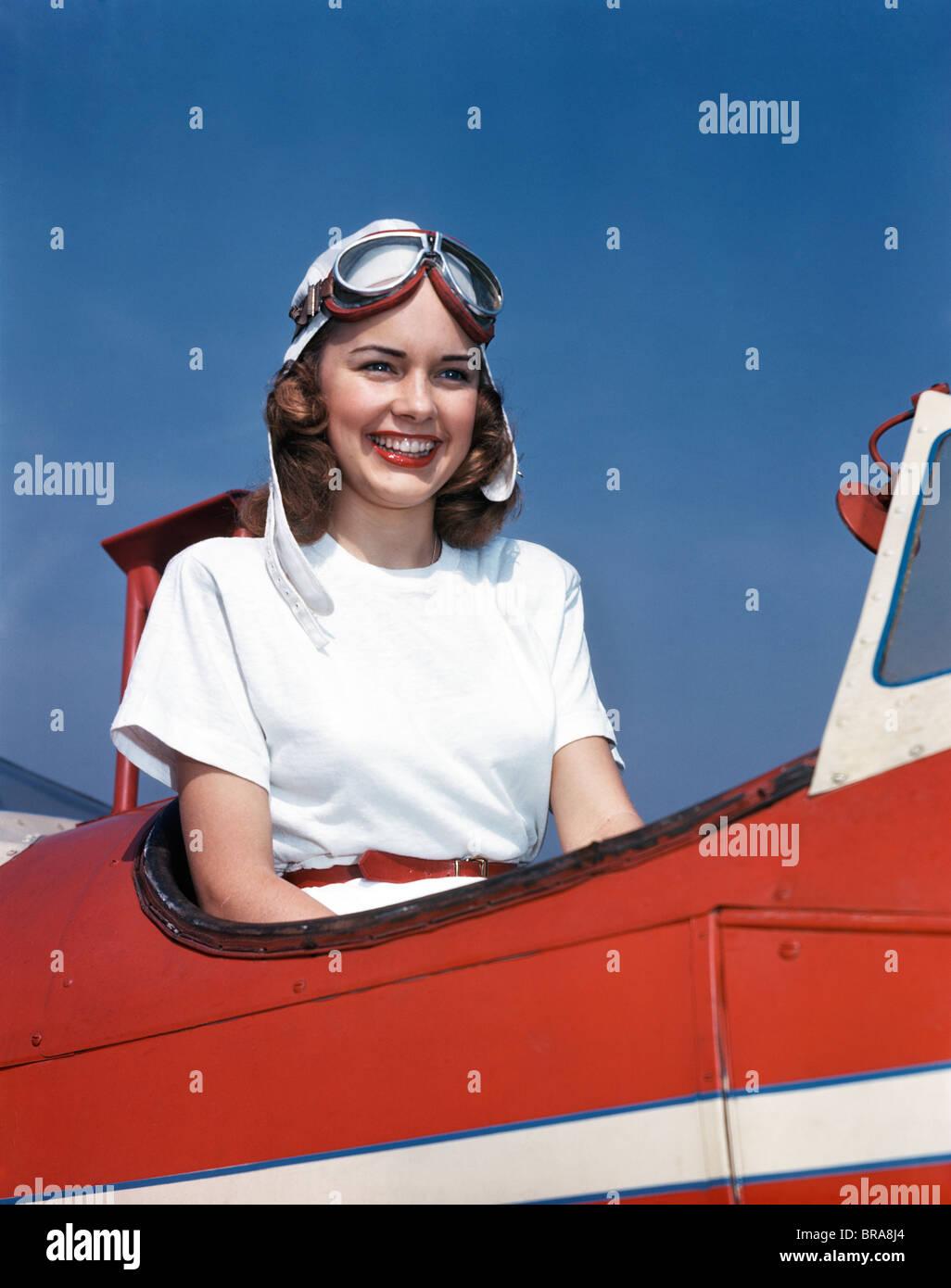 1940s 1950s Smiling Woman Wearing Pilots Helmet Goggles