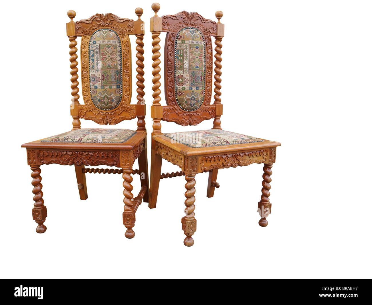 Beautiful Two Antique Ornate Chairs Isolated With Clipping Path
