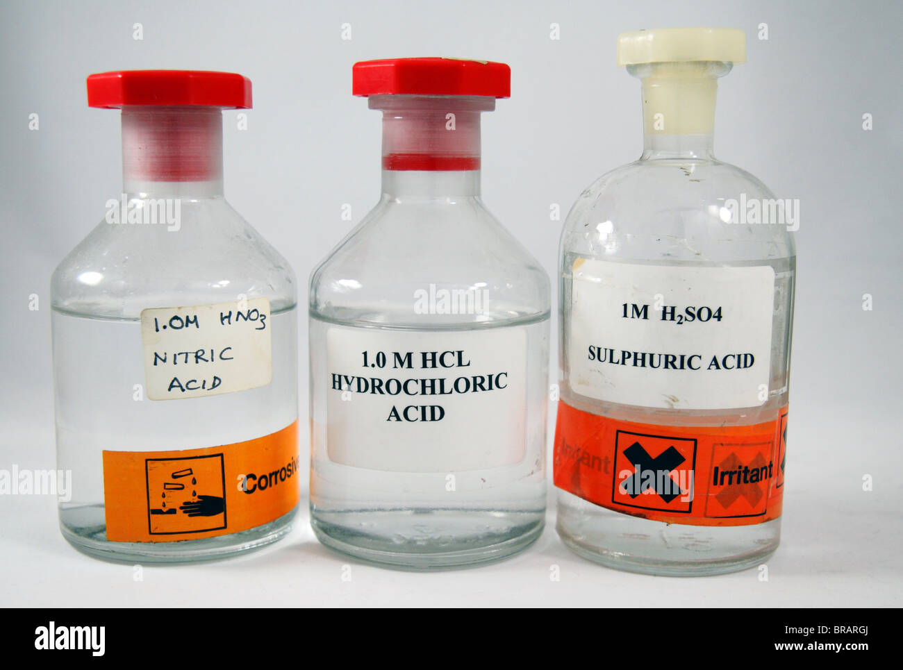 Three Bottles Of 1 Molar 10M School Acids As Used In England Nitric Acid Hydrochloric And Sulphuric