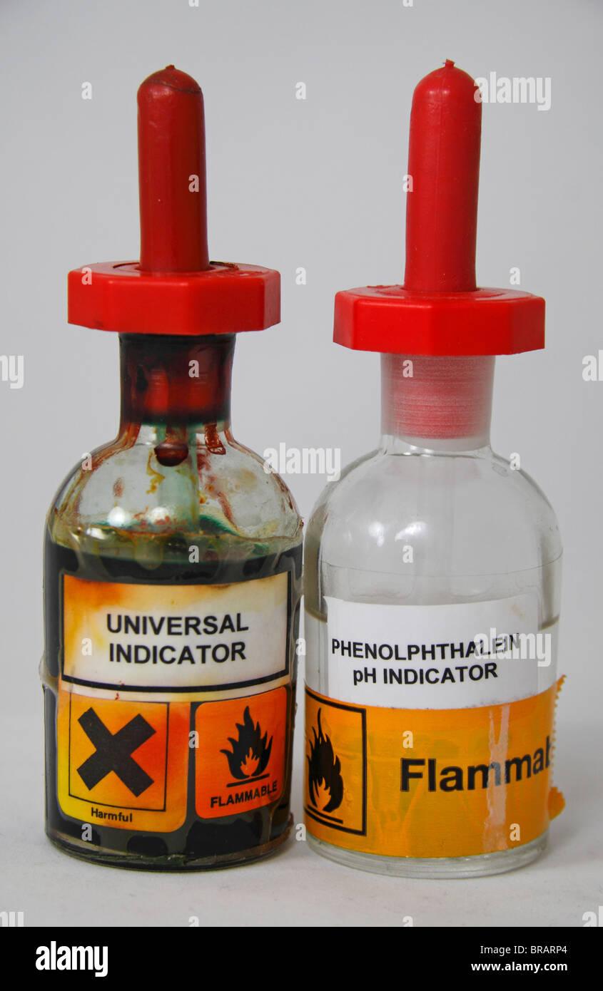 A bottle of Universal Indicator beside a bottle of Phenolphthalein ... for Universal Indicator Solution  585hul