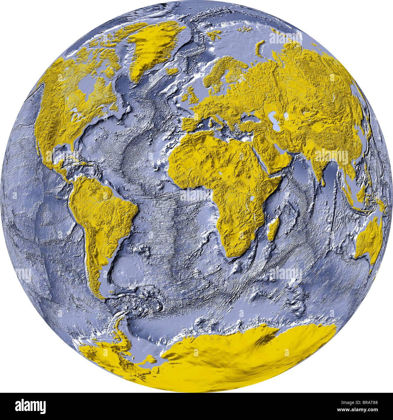 World map showing the whole world on one side of a sphere Stock