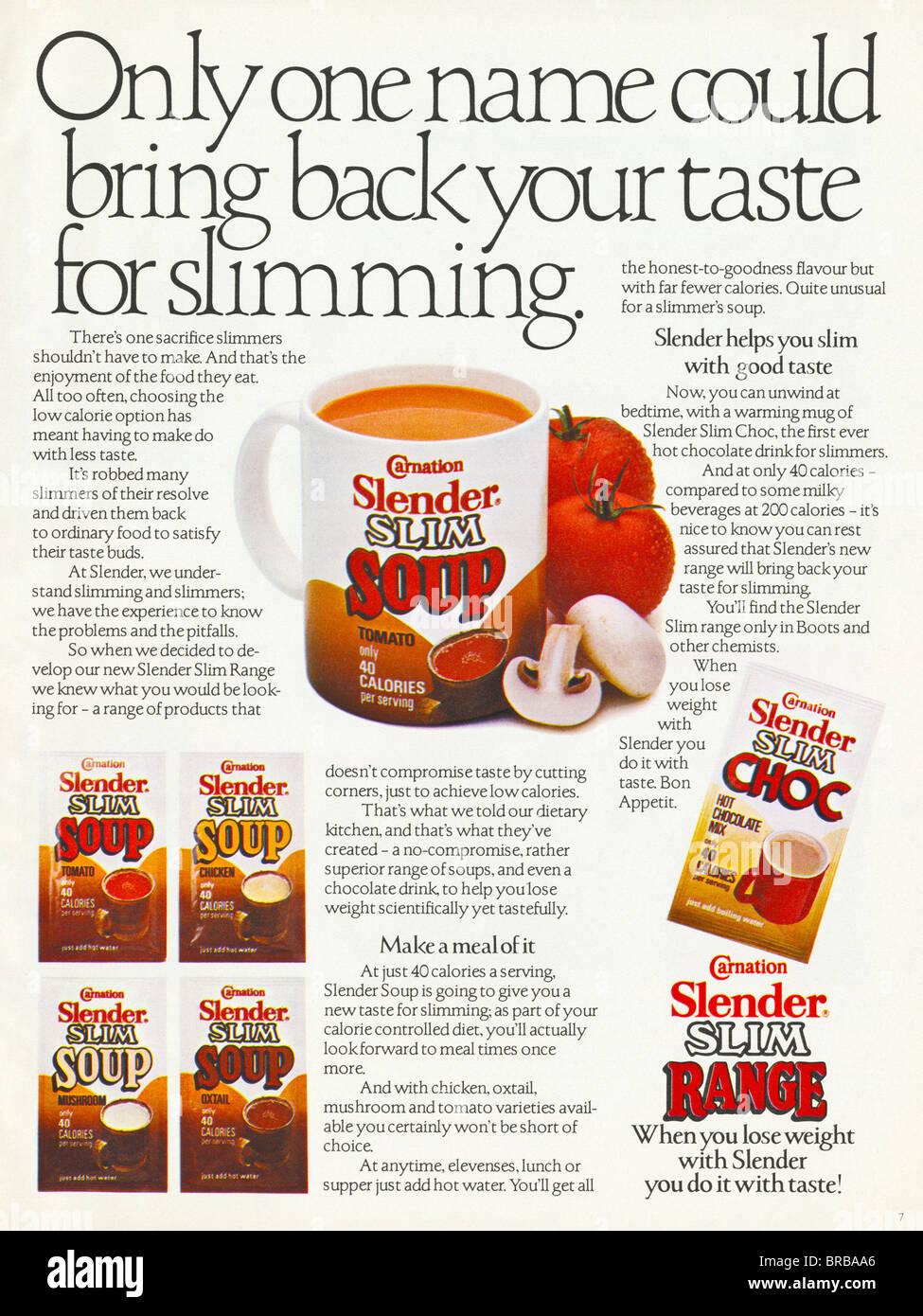 Colour Magazine Advertisement For Carnation Slender Slim Range Of ...