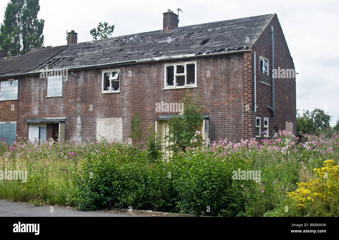 Derelict Former Council Houses On Langley Estate Originally Manchester Overspill Middleton Rochdale