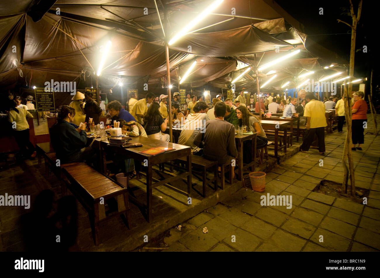 Stock Photo - Night shot of food stalls, Hoi An, Vietnam, Indochina