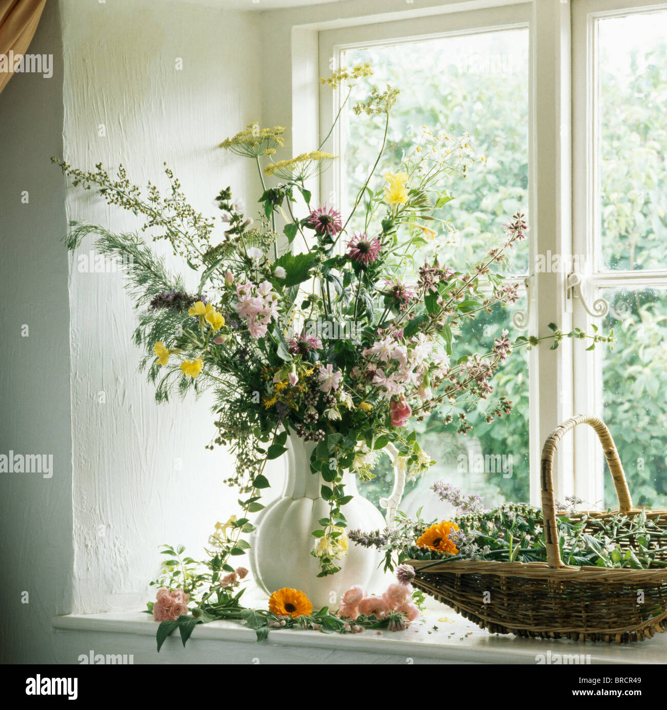 Still life of vase of summer country flowers on kitchen windowsill still life of vase of summer country flowers on kitchen windowsill reviewsmspy
