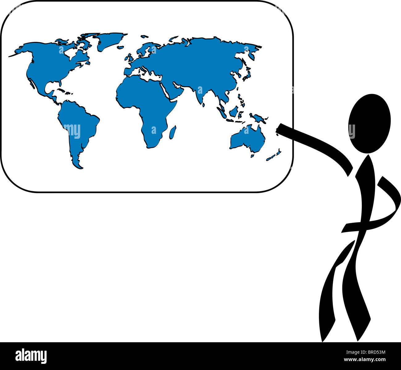 Stylized person pointing on a world map all on white background stylized person pointing on a world map all on white background sciox Image collections