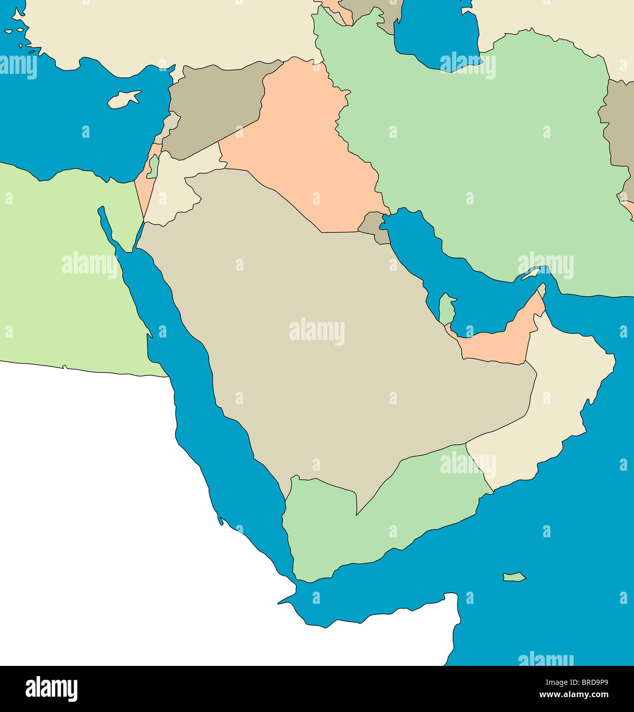 Stylized map of the middle east region no captions All on white