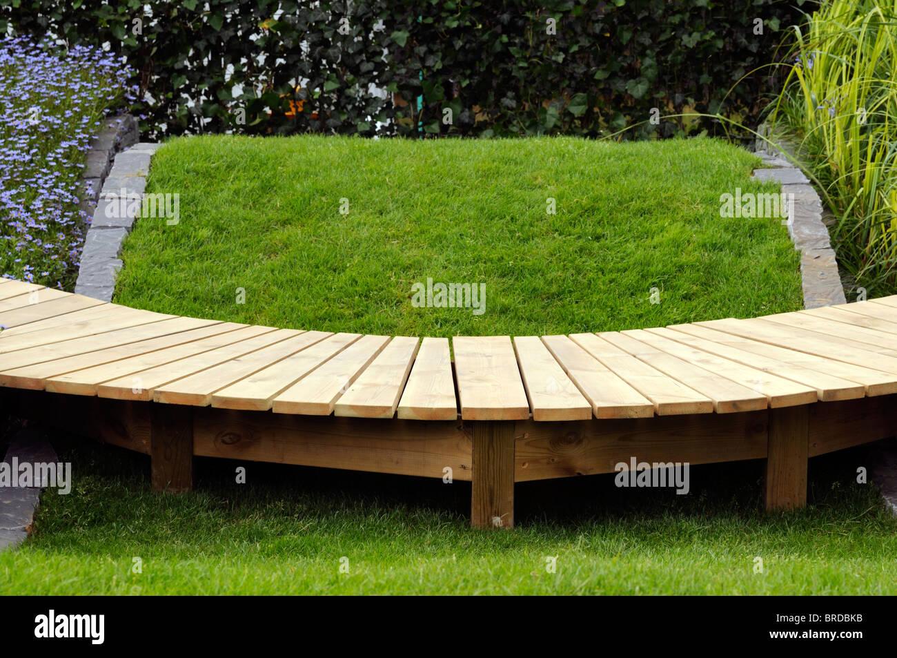 Stock Photo   Wooden Garden Decking Design Walk Walkway Path Pathway Raised  Decorative Ornamental Architectural Plank Planks Feature